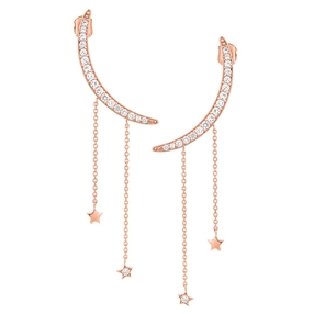 Wishing On Silver 925 18k Rose Gold Plated Μακριά Σκουλαρίκια-