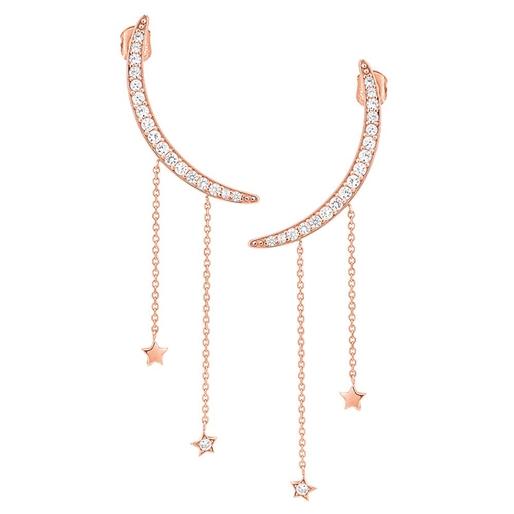 Wishing On Silver 925 18k Rose Gold Plated Μακριά Σκουλαρίκια-