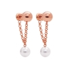 Pearl Fusion Silver 925 18k Rose Gold Plated Κοντά Σκουλαρίκια