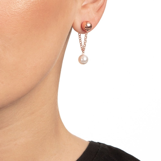 Pearl Fusion Silver 925 18k Rose Gold Plated Short Earrings-