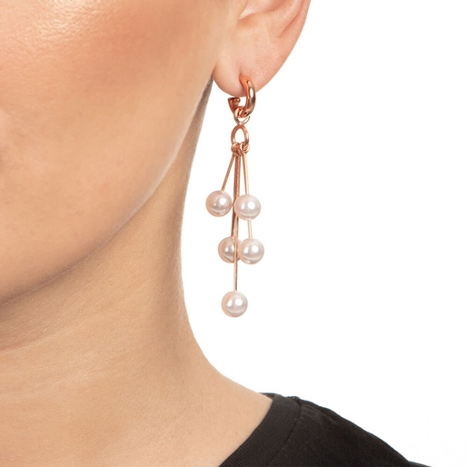 Pearl Fusion Silver 925 18k Rose Gold Plated Μακριά Σκουλαρίκια-