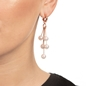 Pearl Fusion Silver 925 18k Rose Gold Plated Long Earrings-