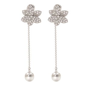 Blooming Grace Silver 925 Long Earrings-