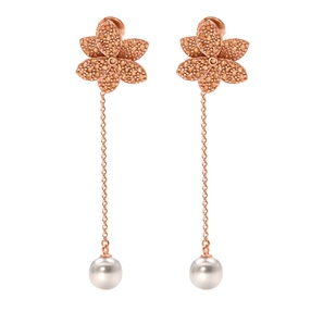 Blooming Grace Silver 925 18k Rose Gold Plated Long Earrings-