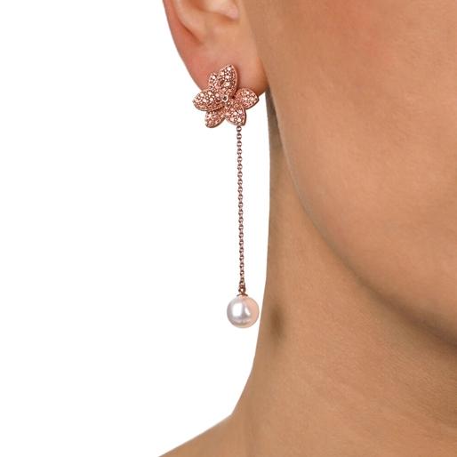 Blooming Grace Silver 925 18k Rose Gold Plated Long Earrings-