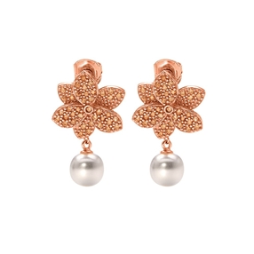 Blooming Grace Silver 925 18k Rose Gold Plated Short Earrings-