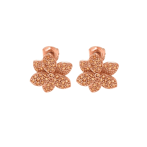 Blooming Grace Silver 925 18k Rose Gold Plated Κοντά Σκουλαρίκια-