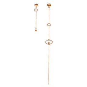 Dream Princess Rose Gold Plated Assymetric Long Earrings-