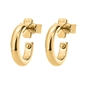 Bloom Bliss Yellow Gold Plated Hoop Σκουλαρίκια-