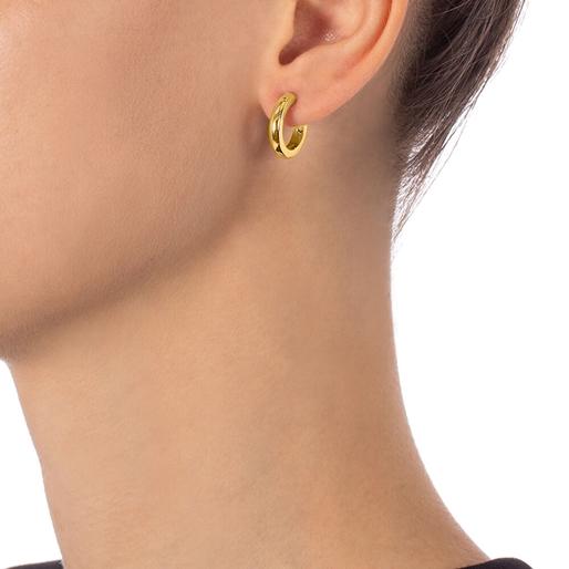 Bloom Bliss Yellow Gold Plated Hoop Earrings-