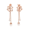 Flower Power 18k Rose Gold Plated Brass Μακριά Σκουλαρίκια