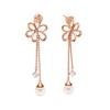 Flower Power 18k Rose Gold Plated Brass Long Earrings
