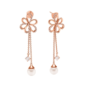 Flower Power 18k Rose Gold Plated Brass Long Earrings-