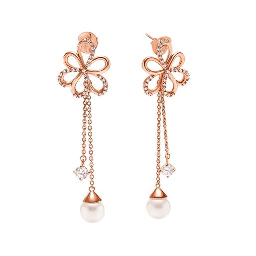 Flower Power 18k Rose Gold Plated Brass Long Earrings-