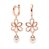 Flower Power 18k Rose Gold Plated Brass Hoop Long Earrings