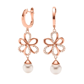 Flower Power 18k Rose Gold Plated Brass Hoop Long Earrings-
