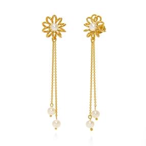 Dainty World Silver 925 18k Yellow Gold Plated Long Earrings-