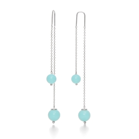 Close To Sun Silver 925 Drop Through Long Earrings-
