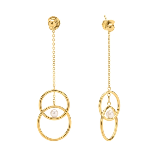 Link Up Silver 925 18k Yellow Gold Plated Long Earrings-