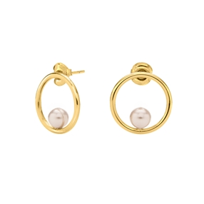 Link Up Silver 925 18k Yellow Gold Plated Μικροί Κρίκοι Σκουλαρίκια-