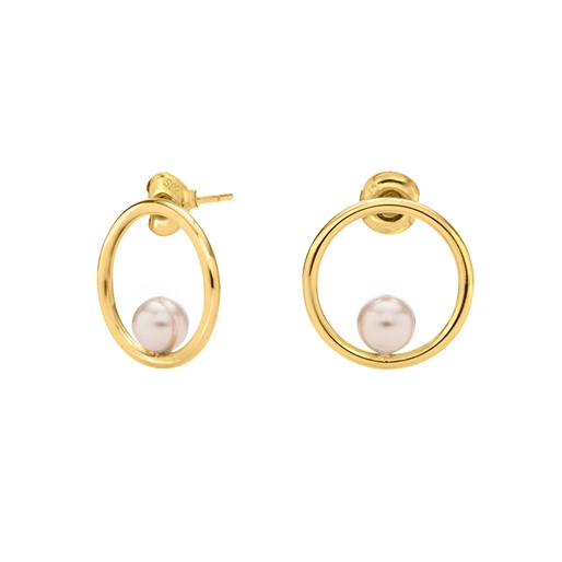 Link Up Silver 925 18k Yellow Gold Plated Small Hoop Earrings-