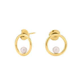 Link Up Silver 925 18k Yellow Gold Plated Mini Κρίκοι Σκουλαρίκια-