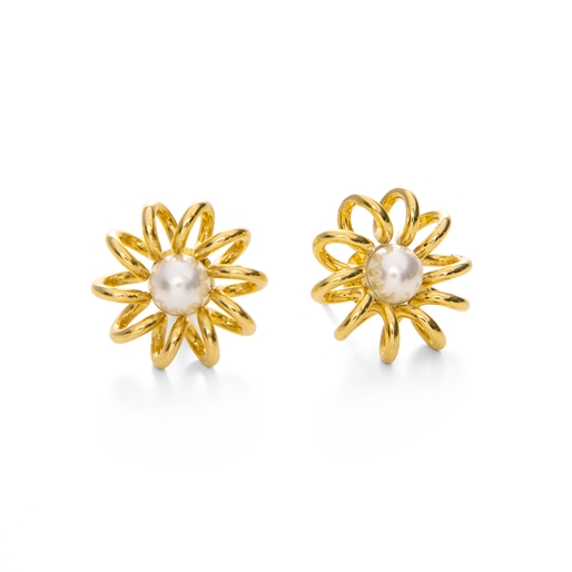 Dainty World Silver 925 18k Yellow Gold Plated Stud Earrings-