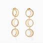 Celestial Glow silver 925° pierced earrings with 18K yellow gold plating, moon motifs with ivory iridescent acrylic and clear cz stones-