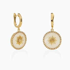 Celestial Glow silver 925° pierced earrings with 18K yellow gold plating, sun motif with ivory iridescent acrylic and clear cz stones-
