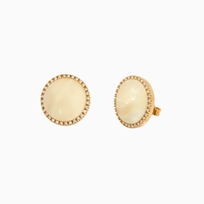 Celestial Glow silver 925° pierced earrings with 18K yellow gold plating, moon motif with ivory iridescent acrylic and clear cz stones-