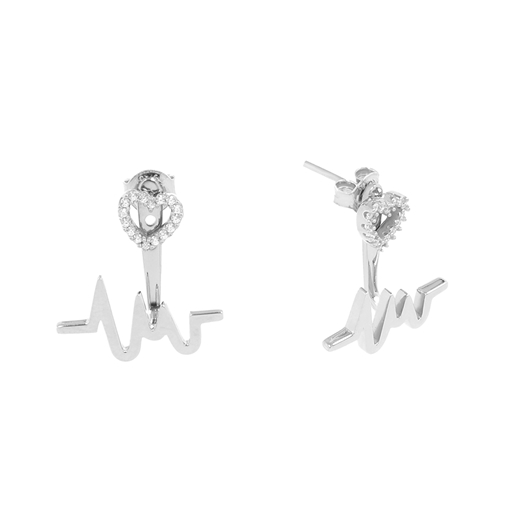 My Heart Beat silver 925° τρυπητά σκουλαρίκια με μοτίφ καρδιακού παλμού & καρδιά με πέτρες-