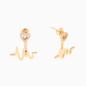 My Heart Beat 1micron 18K yellow gold plated silver 925° τρυπητά σκουλαρίκια με μοτίφ καρδιακού παλμού & καρδιά με πέτρες-
