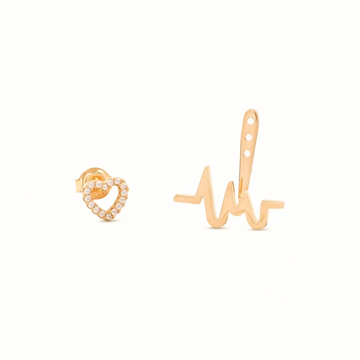My Heart Beat 1micron 18K yellow gold plated silver 925° τρυπητά σκουλαρίκια με μοτίφ καρδιακού παλμού & καρδιά με πέτρες-