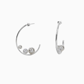 The Pearl Effect silver plated brass hoops with white shell coated The Pearl Effect-