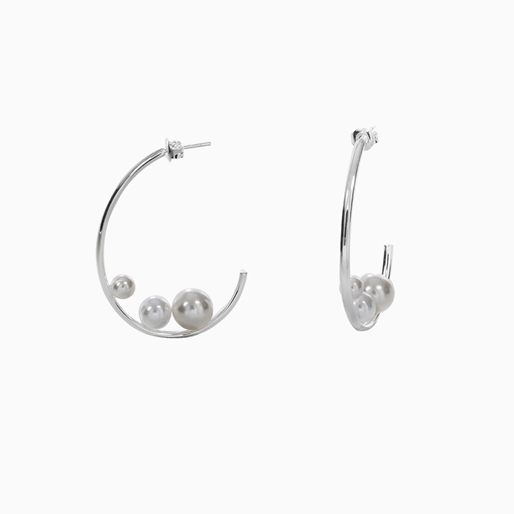 The Pearl Effect silver plated brass hoops with white shell coated The Pearl Effect -