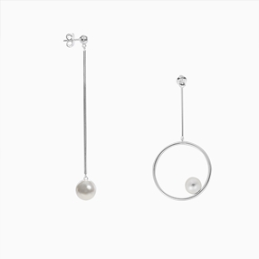 The Pearl Effect silver plated brass pierced earrings, tube & mismatched tube with hoop and white shell coated The Pearl Effect-
