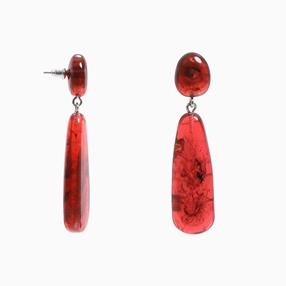 Impress Me pierced earrings with double amber resin motifs-
