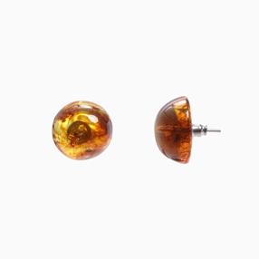 Impress Me pierced earrings with round amber resin half sphere-