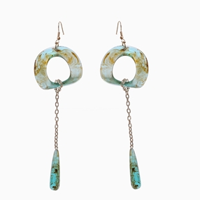 Impress Me pierced earrings, square green resin rings with hanging drop motifs and zinc metal parts-