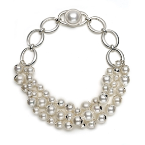 Grace Silver Plated Three Rows White Pearl Short Necklace-