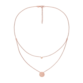 Fashionably Silver Essentials Rose Gold Plated Κοντό Κολιέ-