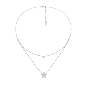 Fashionably Silver Stories Rhodium Plated Short Necklace-
