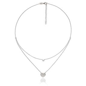 Fashionably Silver Stories Rhodium Plated Κοντό Κολιέ-