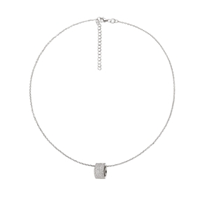 Fashionably Silver Essentials Rhodium Plated Κοντό Κολιέ-