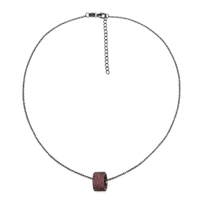Fashionably Silver Essentials Black Plated Short Necklace-