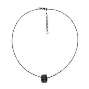 Fashionably Silver Essentials Black Rhodium Plated Κοντό Κολιέ-