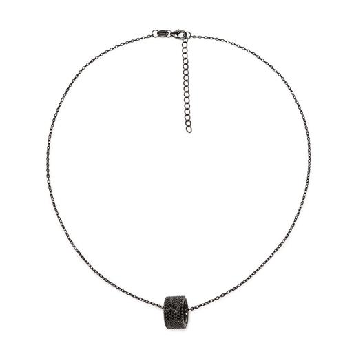 Fashionably Silver Essentials Black Rhodium Plated Κοντό Κολιέ-