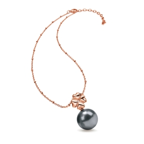 Grace Rose Gold Plated Dark Gray Pearl Short Necklace-