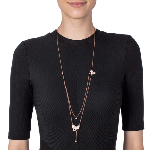 Wonderfly Silver 925 Rose Gold Plated Long Necklace-