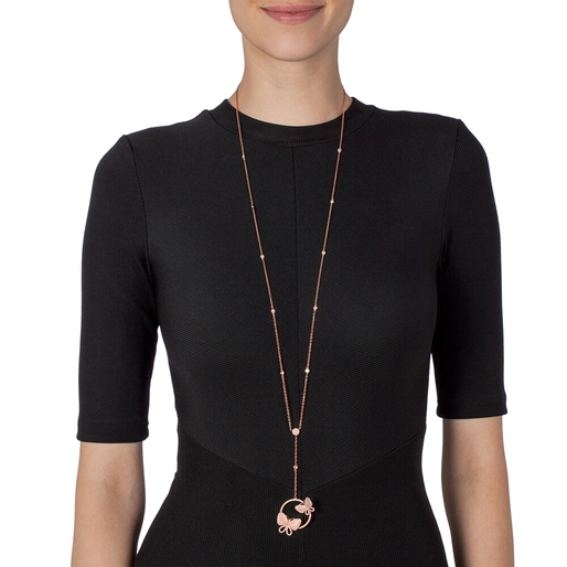 Wonderfly Rose Gold Plated Long Necklace-